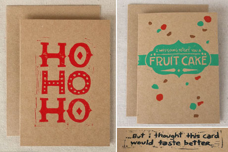Holiday Cards Fruit Cake and Ho Ho Ho